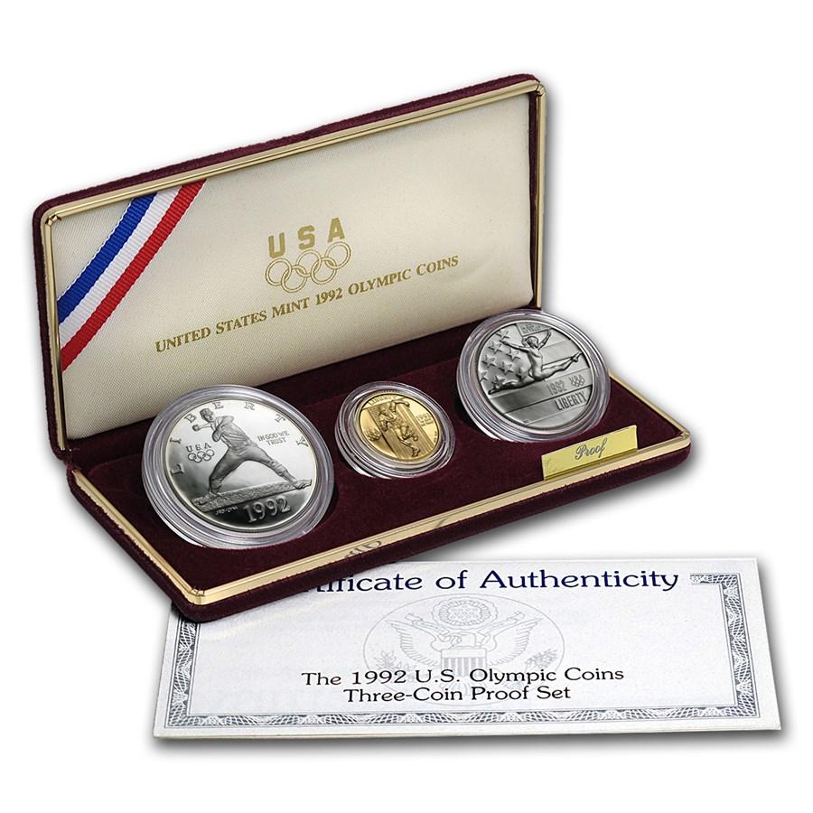 1992 3-Coin Commem Olympic Proof Set (w/Box & COA)