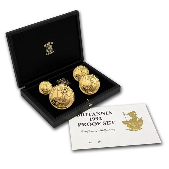 1992 4-Coin Gold Britannia Proof Set (w/Box & COA)