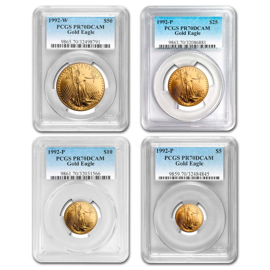1992 4-Coin Proof American Gold Eagle Set PR-70 PCGS