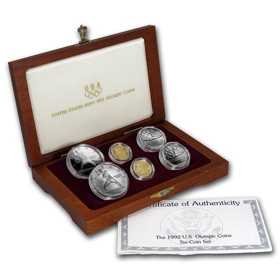 1992 6-Coin Commem Olympic Set BU & Proof (w/Box & COA)