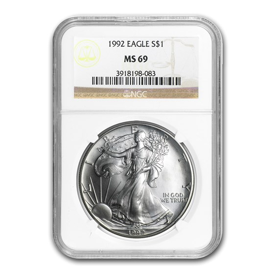 1992 American Silver Eagle MS-69 NGC