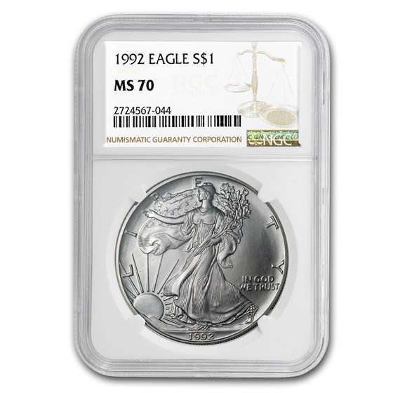 1992 American Silver Eagle MS-70 NGC