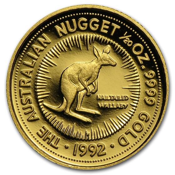 1992 Australia 1/20 oz Proof Gold Nugget