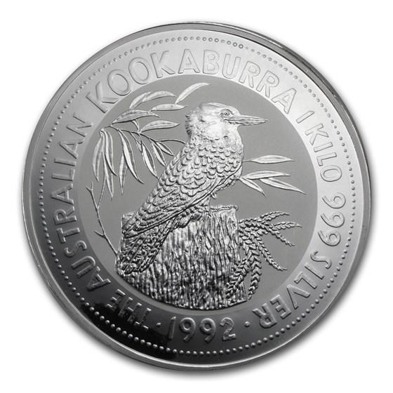 1992 Australia 1 kilo Silver Kookaburra BU