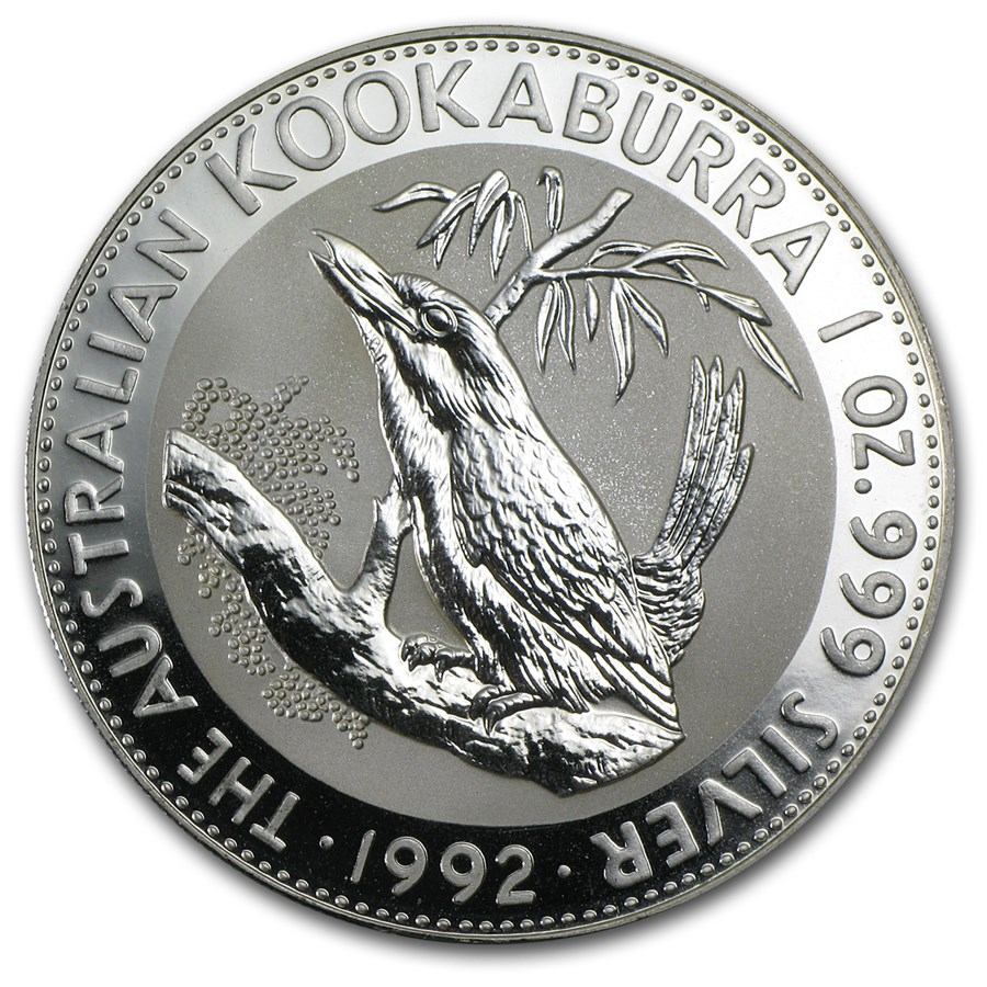 1992 Australia 1 oz Silver Kookaburra BU