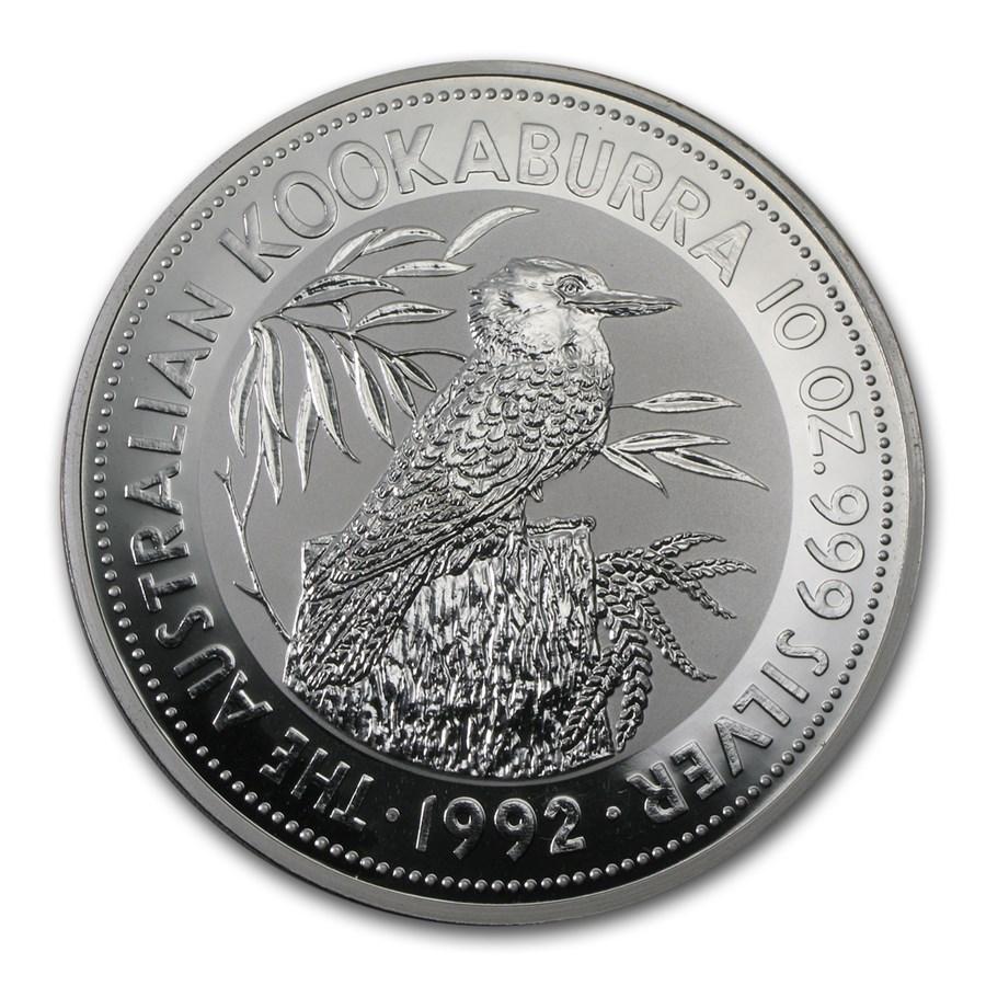 1992 Australia 10 oz Silver Kookaburra BU