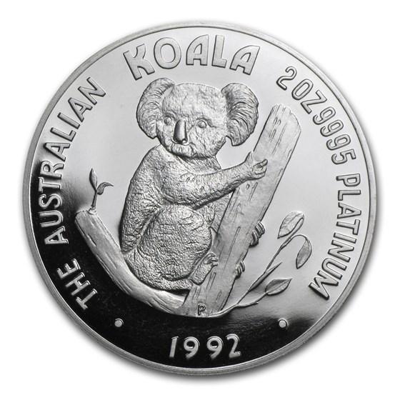 1992 Australia 2 oz Proof Platinum Koala (w/Box & COA)