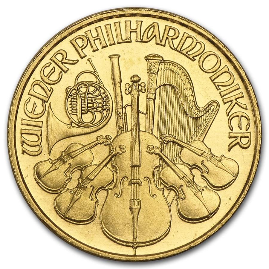 1992 Austria 1/10 oz Gold Philharmonic BU