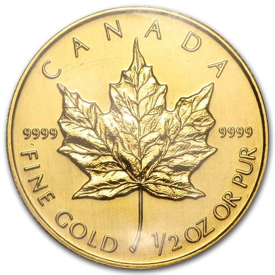 1992 Canada 1/2 oz Gold Maple Leaf BU