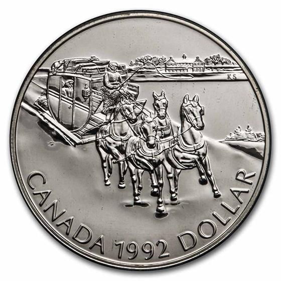 1992 Canada Silver Dollar BU (Stagecoach Kingston-York)