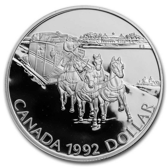 1992 Canada Silver Dollar Proof (Stagecoach Kingston-York w/OGP)