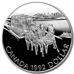 1992 Canada Silver Dollar Proof (Stagecoach Kingston-York)