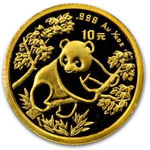 1992 China 1/10 oz Gold Panda BU (In Capsule)