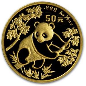 1992 China 1/2 oz Gold Panda BU (Not Sealed)