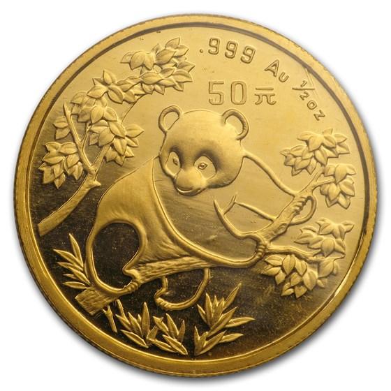 1992 China 1/2 oz Gold Panda Small Date BU (Sealed)