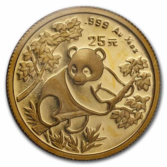 1992 China 1/4 oz Gold Panda Small Date BU (Sealed)