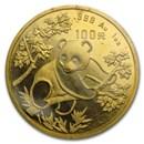 1992 China 1 oz Gold Panda Large Date BU (Sealed)