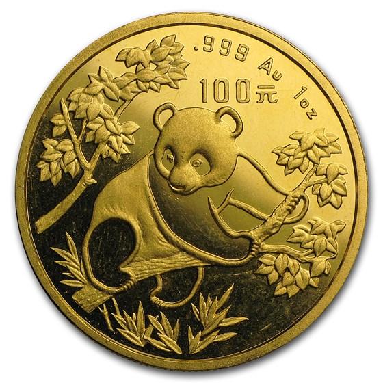 1992 China 1 oz Gold Panda Small Date BU (In Capsule)