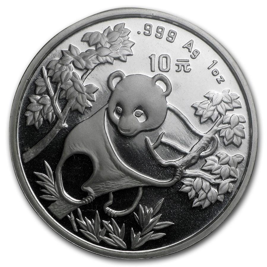1992 China 1 oz Silver Panda Large Date BU (Sealed)
