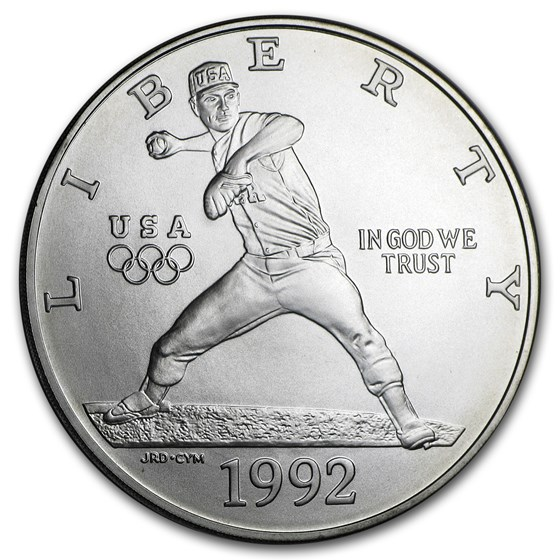 1992-D Olympic Baseball $1 Silver Commem BU (w/Box & COA)