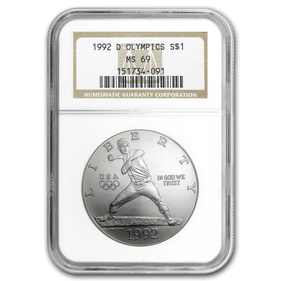 1992-D Olympic Baseball $1 Silver Commem MS-69 NGC