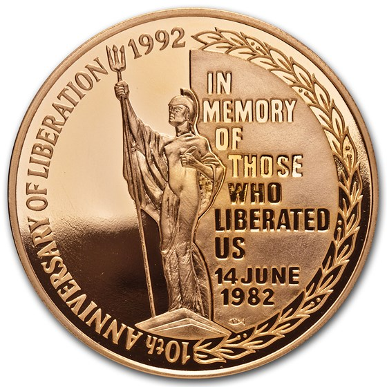 1992 Falkland Islands Gold 5 Pounds Liberation Proof