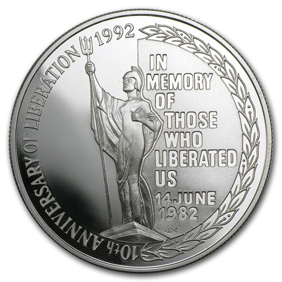 1992 Falkland Islands Silver 5 Pounds Liberation Proof