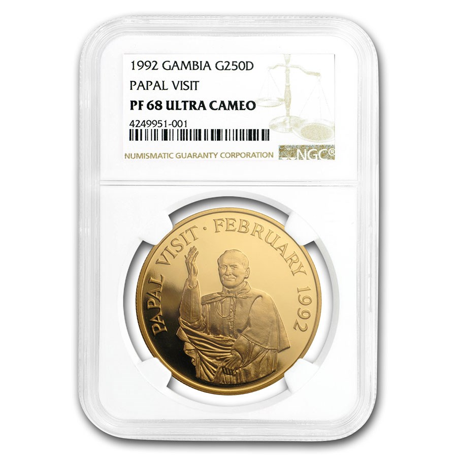 1992 Gambia Proof Gold 250 Dalasis Papal Visit PF-68 NGC (UCAM)