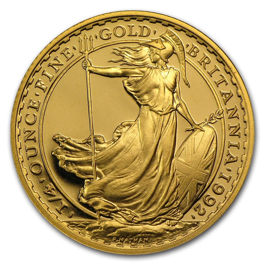 1992 Great Britain 1/4 oz Proof Gold Britannia