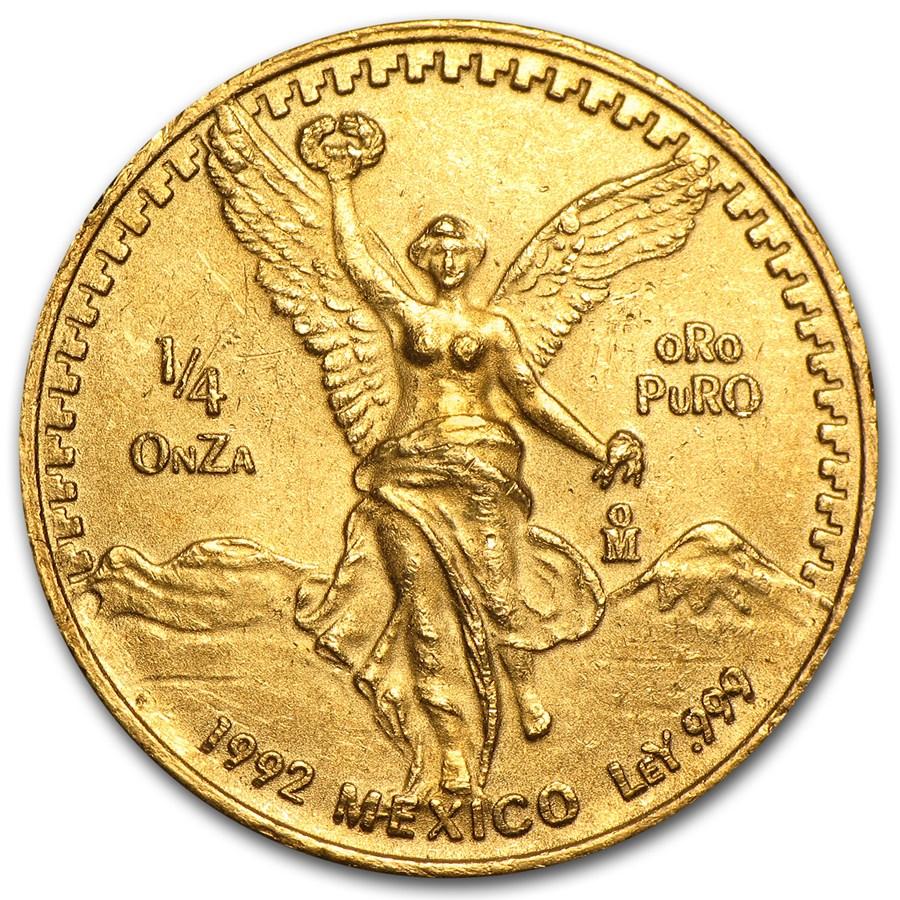 1992 Mexico 1/4 oz Gold Libertad BU