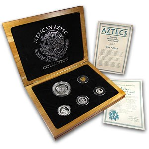 1992 Mexico 5-Coin Gold/Silver Aztec Proof Set (w/Wooden Box)