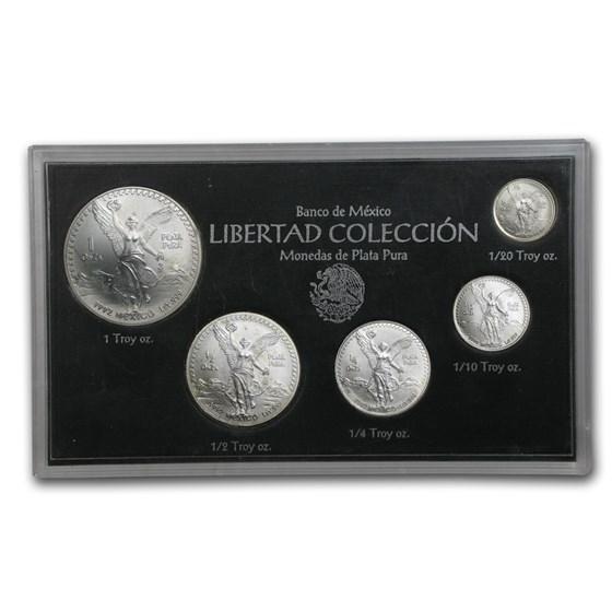 1992 Mexico 5-Coin Silver Libertad Set BU (1.9 oz)