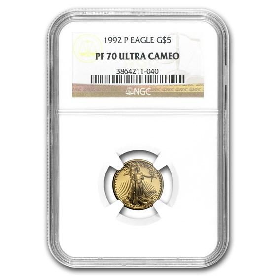 1992-P 1/10 oz Proof Gold American Eagle PF-70 NGC