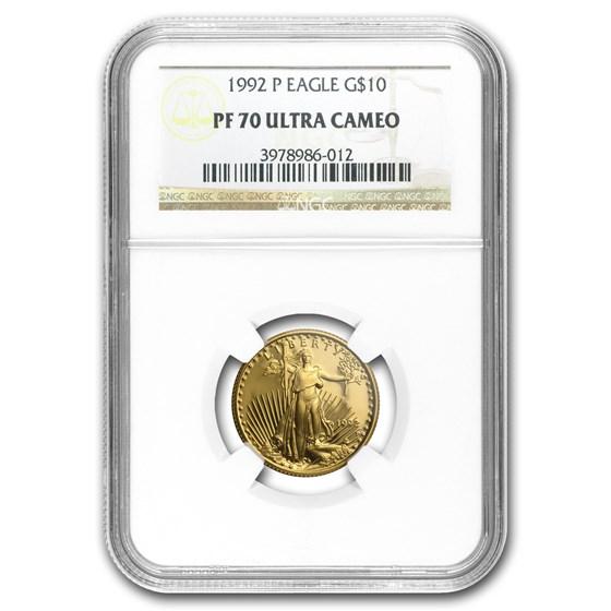 1992-P 1/4 oz Proof American Gold Eagle PF-70 UCAM NGC