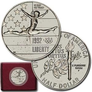 1992-P Olympic Gymnast 1/2 Dollar Clad Commem BU (w/Box & COA)
