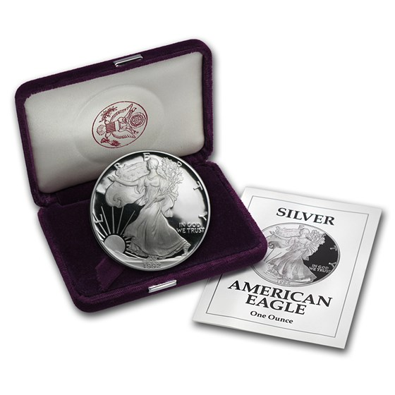1992-S 1 oz Proof American Silver Eagle (w/Box & COA)