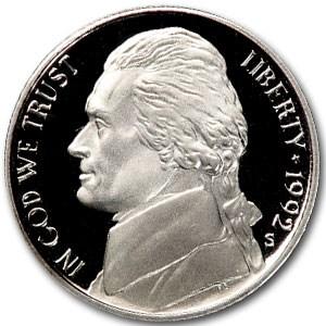 1992-S Jefferson Nickel Gem Proof