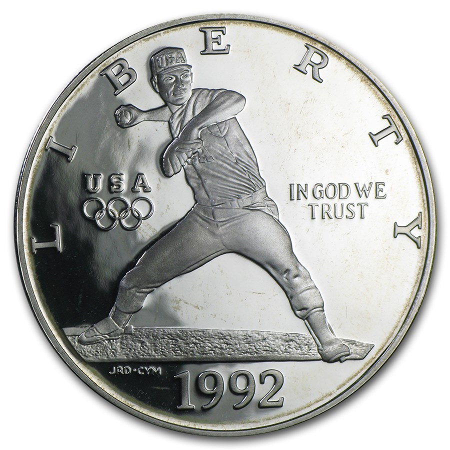 1992-S Olympic Baseball $1 Silver Commem Proof (Capsule only)