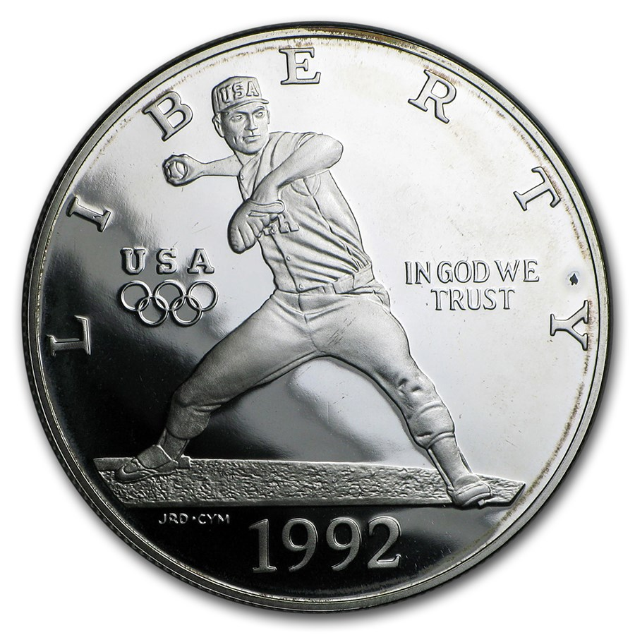 1992-S Olympic Baseball $1 Silver Commem Proof (w/Box & COA)