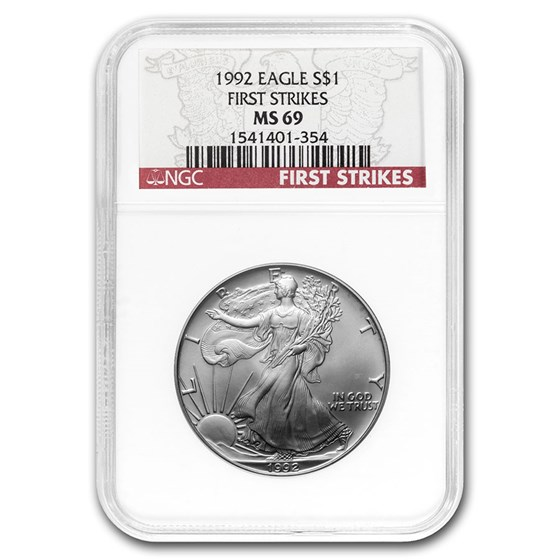 1992 Silver American Eagle MS-69 NGC (First Strike)
