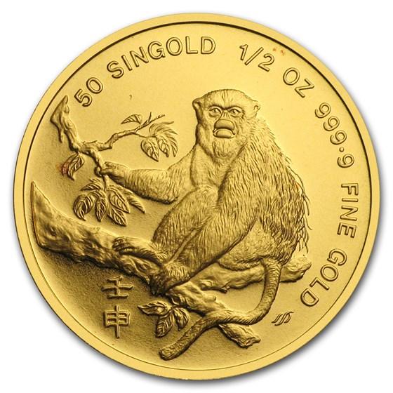 1992 Singapore 1/2 oz Proof Gold 50 Singold Monkey