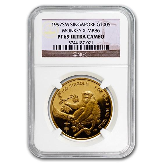 1992 Singapore 1 oz Proof Gold 100 Singold Monkey PR-69 NGC