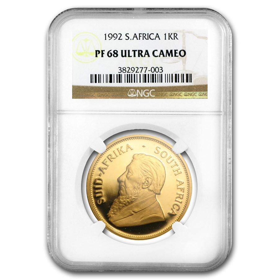 1992 South Africa 1 oz Gold Krugerrand PF-68 NGC