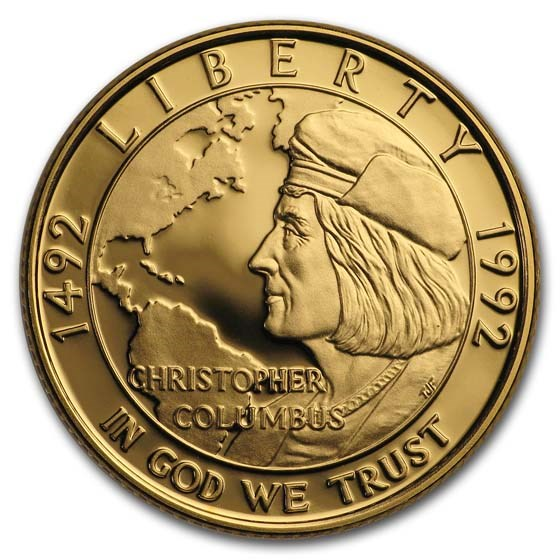 1992-W Gold $5 Commem Columbus Quincentenary Proof (w/Box & COA)