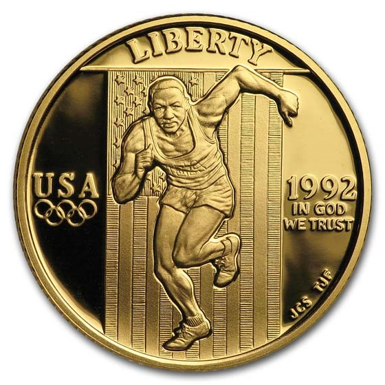1992-W Gold $5 Commem Olympic BU (w/Box & COA)