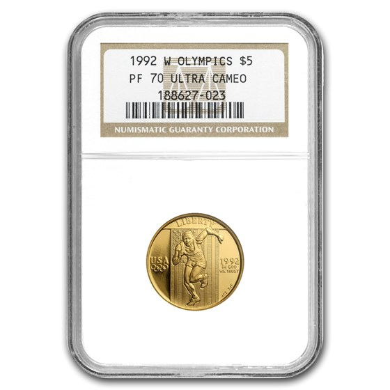 1992-W Gold $5 Commem Olympic PF-70 NGC