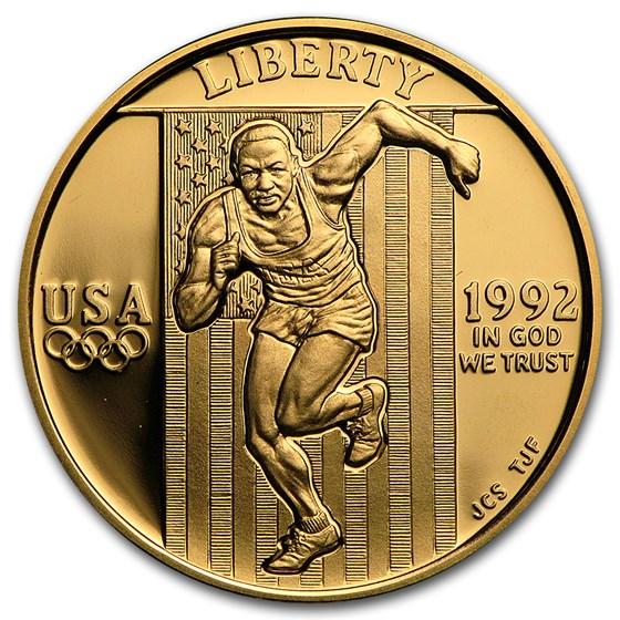 1992-W Gold $5 Commem Olympic Proof (w/Box & COA)