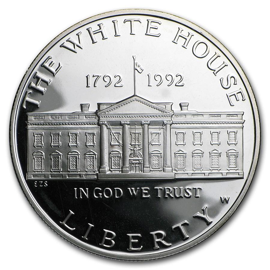 1992-W White House $1 Silver Commem Proof (w/Box & COA)