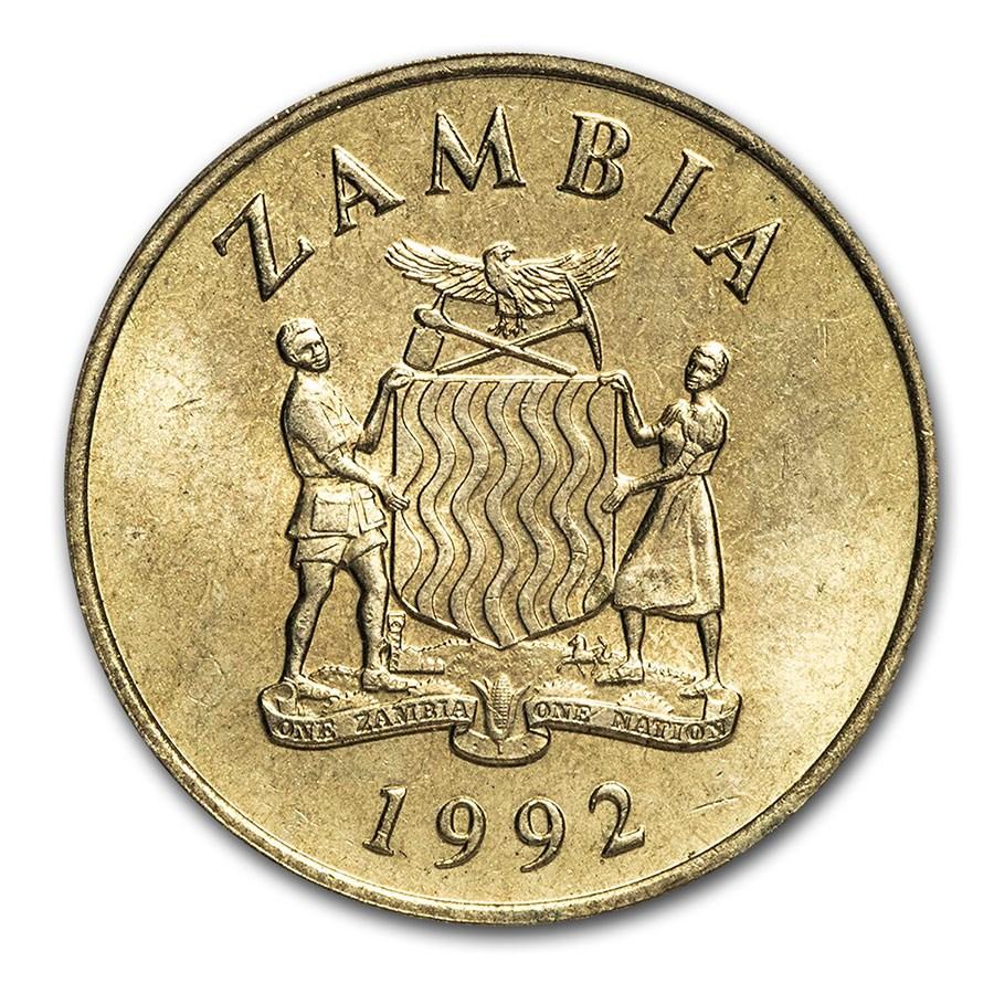 1992 Zambia 1 Kwacha National Arms/Two Falcons BU