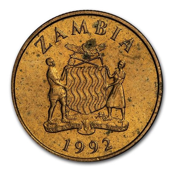 1992 Zambia 10 Kwacha National Arms/Rhinoceros BU